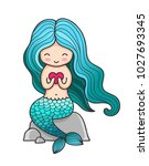 cute little mermaid with heart  ... | Shutterstock .eps vector #1027693345