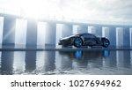 black futuristic electric car... | Shutterstock . vector #1027694962