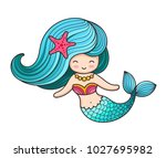 beautiful mermaid with long... | Shutterstock .eps vector #1027695982