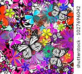 seamless abstract floral... | Shutterstock .eps vector #1027696042
