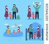 the refugee family. sailing...   Shutterstock .eps vector #1027696126