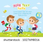 pupils with school supplies... | Shutterstock .eps vector #1027698016