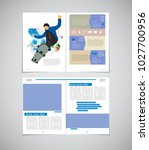 sport magazine layout with... | Shutterstock .eps vector #1027700956
