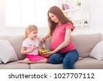 little girl and her pregnant... | Shutterstock . vector #1027707112