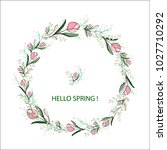 spring round wreath with pink...   Shutterstock .eps vector #1027710292