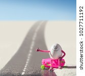 funny egg girl hitchhiking on a ... | Shutterstock . vector #1027711192