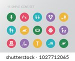 set of 15 editable folks icons. ... | Shutterstock . vector #1027712065