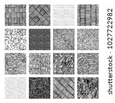 16 seamless pattern of ink hand ... | Shutterstock .eps vector #1027722982