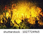 night party of people in the... | Shutterstock . vector #1027724965