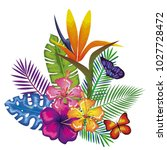 tropical and exotics flowers... | Shutterstock .eps vector #1027728472