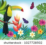 tropical and exotics flowers... | Shutterstock .eps vector #1027728502