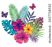 tropical and exotics flowers... | Shutterstock .eps vector #1027728532