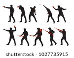 two color war men silhouettes...   Shutterstock .eps vector #1027735915