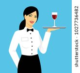 young smiling waitress in... | Shutterstock . vector #1027736482