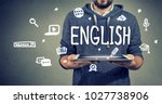 learning rnglish with new... | Shutterstock . vector #1027738906