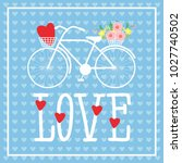 bicycle with a basket of... | Shutterstock . vector #1027740502