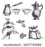 coffee set with cup  coffeepot... | Shutterstock .eps vector #1027742086