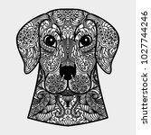 ornamental head of dog   a...   Shutterstock . vector #1027744246