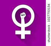 female symbol with a raised... | Shutterstock .eps vector #1027753156