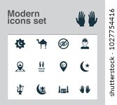 religion icons set with camel ... | Shutterstock . vector #1027754416