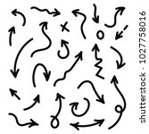 vector hand drawn arrows set.... | Shutterstock .eps vector #1027758016