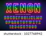 neon light alphabet ... | Shutterstock .eps vector #1027768942