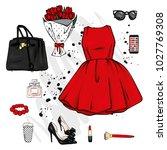 a set of fashionable women's... | Shutterstock .eps vector #1027769308