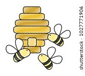 grated cute bees insect flying... | Shutterstock .eps vector #1027771906