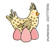 line color chicks with rabbit... | Shutterstock .eps vector #1027773556