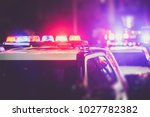 Police Time Checkpoint. Police Cruiser Lights Closeup Photo.  - stock photo