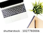 top view of laptop computer and ... | Shutterstock . vector #1027783006