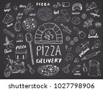 pizza menu hand drawn sketch... | Shutterstock .eps vector #1027798906