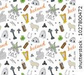 ireland sketch doodles seamless ... | Shutterstock .eps vector #1027800472