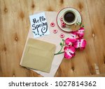 an envelope with a note with... | Shutterstock . vector #1027814362