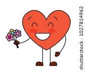 cute heart love holding bouquet ... | Shutterstock .eps vector #1027814962
