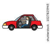 cartoon side view of a man... | Shutterstock .eps vector #1027825945
