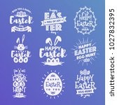 vector happy easter emblem set... | Shutterstock .eps vector #1027832395