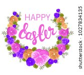 happy easter hand drawn... | Shutterstock .eps vector #1027834135