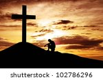 a man making a confession to... | Shutterstock . vector #102786296