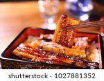 cook dishes filled with eel... | Shutterstock . vector #1027881352