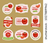 cartoon tomato badges or labels ... | Shutterstock .eps vector #1027889962