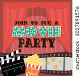 invitation for movie party ... | Shutterstock .eps vector #1027891576