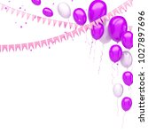 fuchsia and white baloons on... | Shutterstock . vector #1027897696