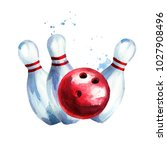 bowling ball with pins.... | Shutterstock . vector #1027908496