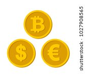 a set of icons of coins on the... | Shutterstock .eps vector #1027908565
