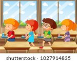 four kids with food tray in... | Shutterstock .eps vector #1027914835