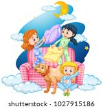 three girls and dog on sofa... | Shutterstock .eps vector #1027915186
