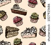 seamless pattern with cupcakes  ... | Shutterstock .eps vector #1027925686
