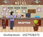 hotel girl receptionist answers ... | Shutterstock .eps vector #1027928272