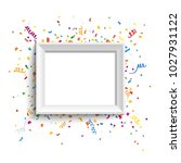 white photo frame with colorful ... | Shutterstock .eps vector #1027931122